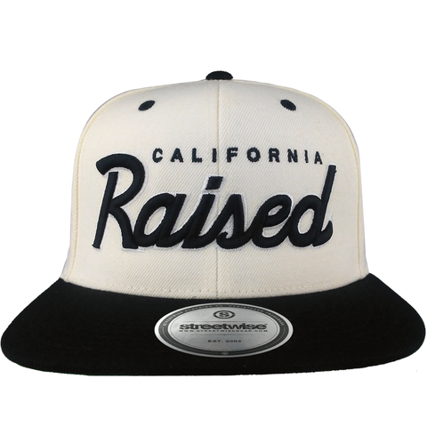 Cali Raised Snapback (White/Black)