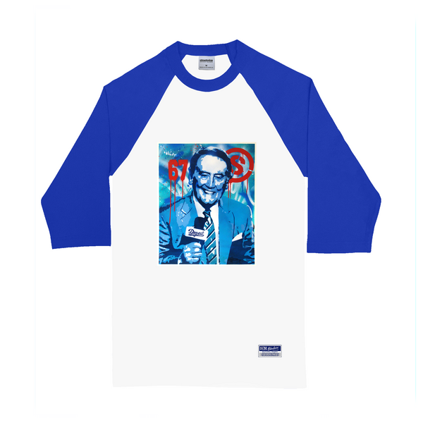 Skully Stencil Raglan (White/Royal)