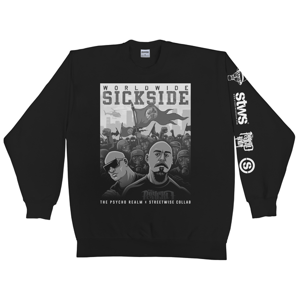 SS Army Crewneck Sweater (Black) | Psycho Realm Collab | Streetwise Clothing