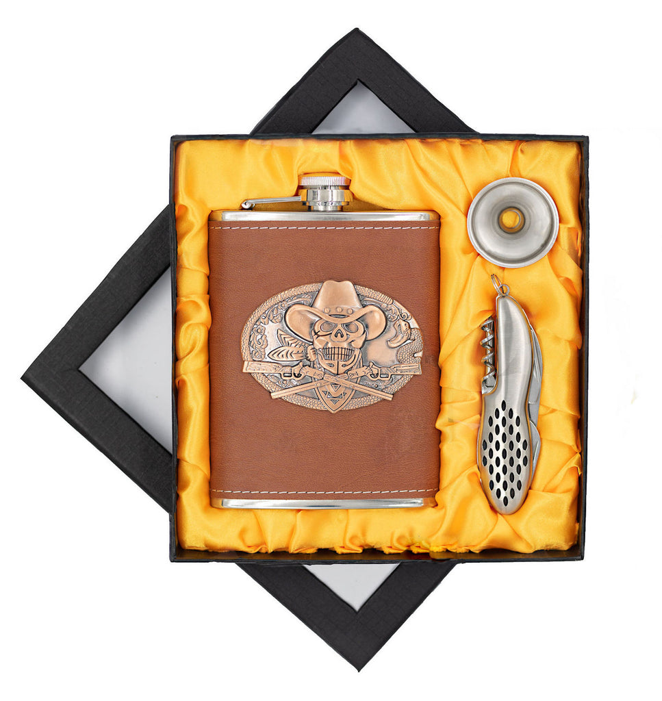 Bad-To-The Bone Skull Cowboy Flask in Premium PU Leather/Heavy Duty Hip Flask Set-Includes Funnel, Pocket Knife and Gift Box