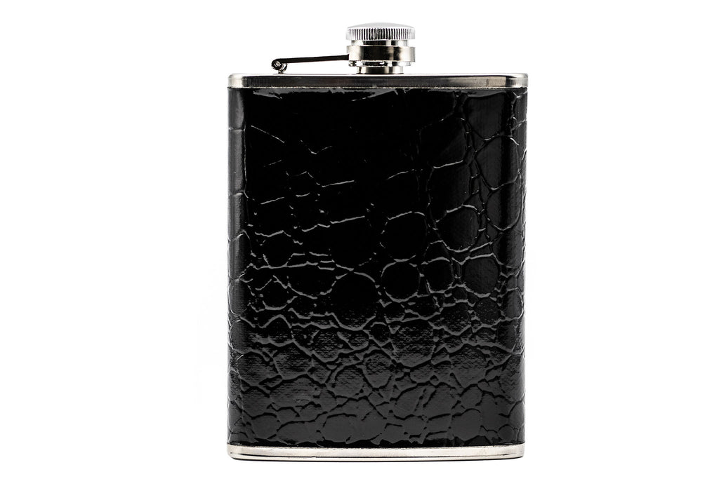 Classic Black 8 Oz Stainless Steel Flask Gift Set/Heavy Duty Hip Flask Set-Includes Flask, Executive Pen, Keychain And Gift Box