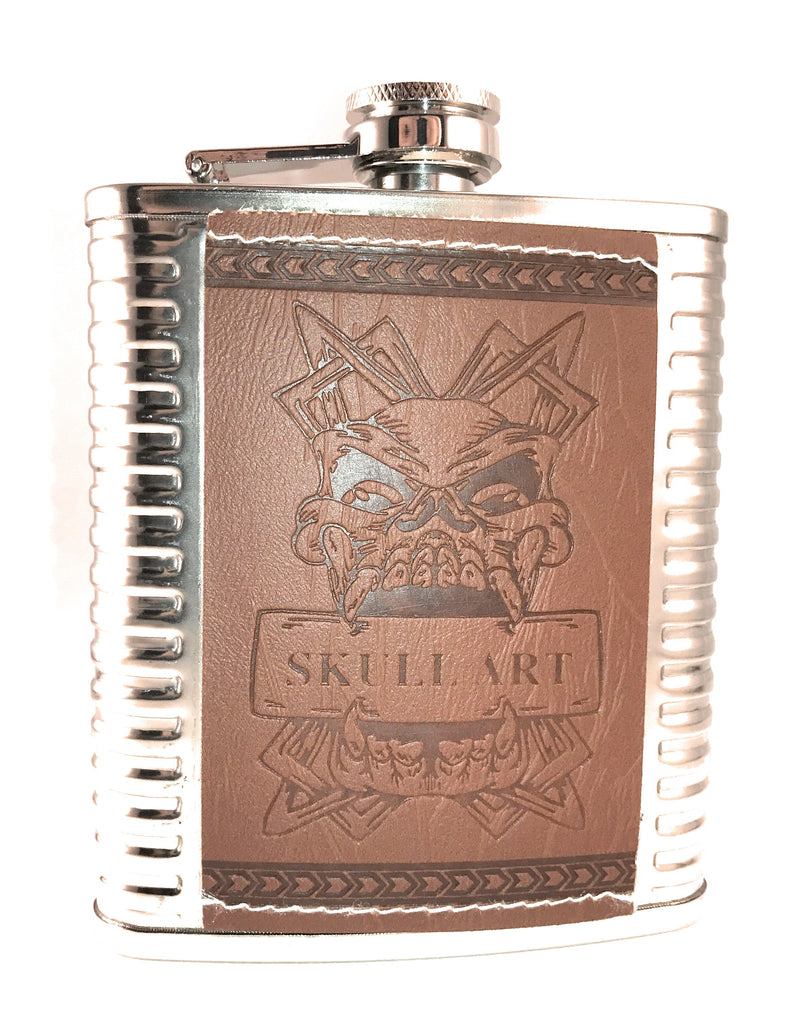 Premium Skull Stainless Steel Flask 4 pc Gift Set 7 Ounce - Brown