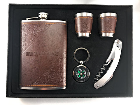 Premium 9 oz Soft Touch Leather Wrap Flask Gift Set - 304 Stainless Steel - Leak Proof