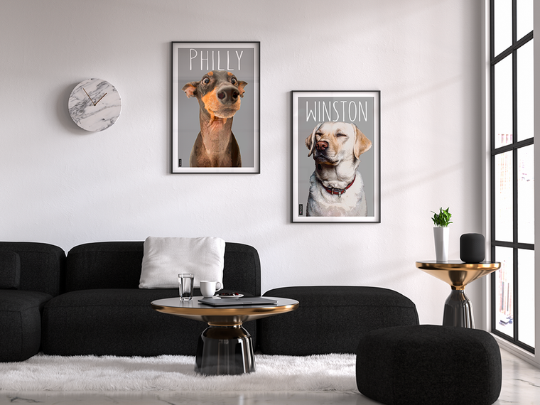 Custom pop art of dogs displayed in a beautiful living room