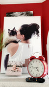Custom canvas of a beautiful bride with her cat