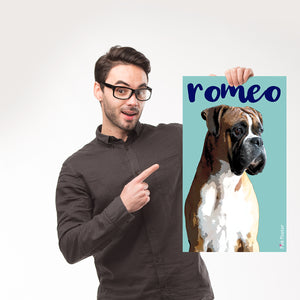 man holding his personalized pop art poster of a boxer dog