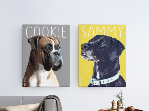Custom dog portrait canvases with yellow and grey Pantene color of 2021