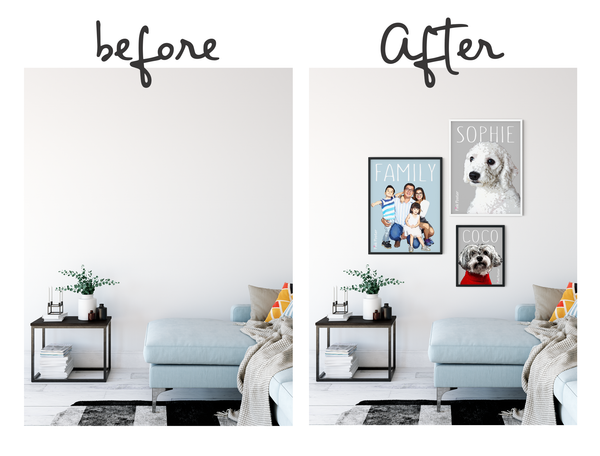 Before and After wall gallery from Pink Poster
