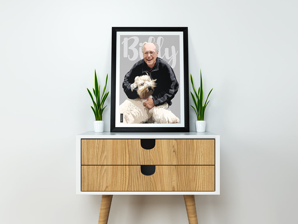 Beautiful custom frame of a grandpa with his dog