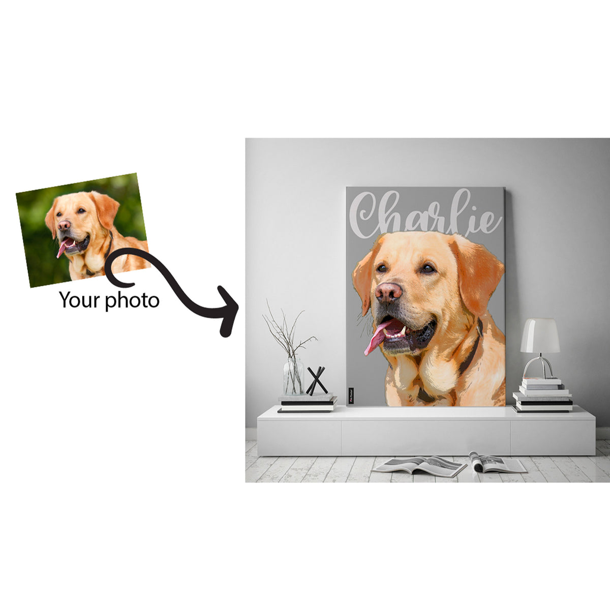 Pop art of labrador dog on large canvas displayed in a white living room