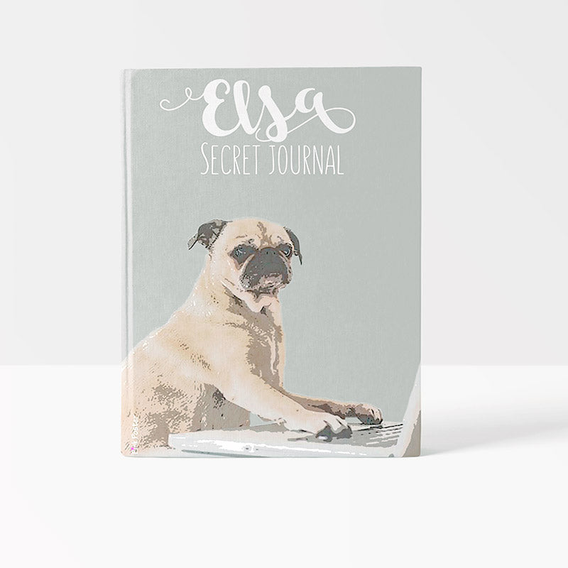 Custom journal cover with pop art of pug dog