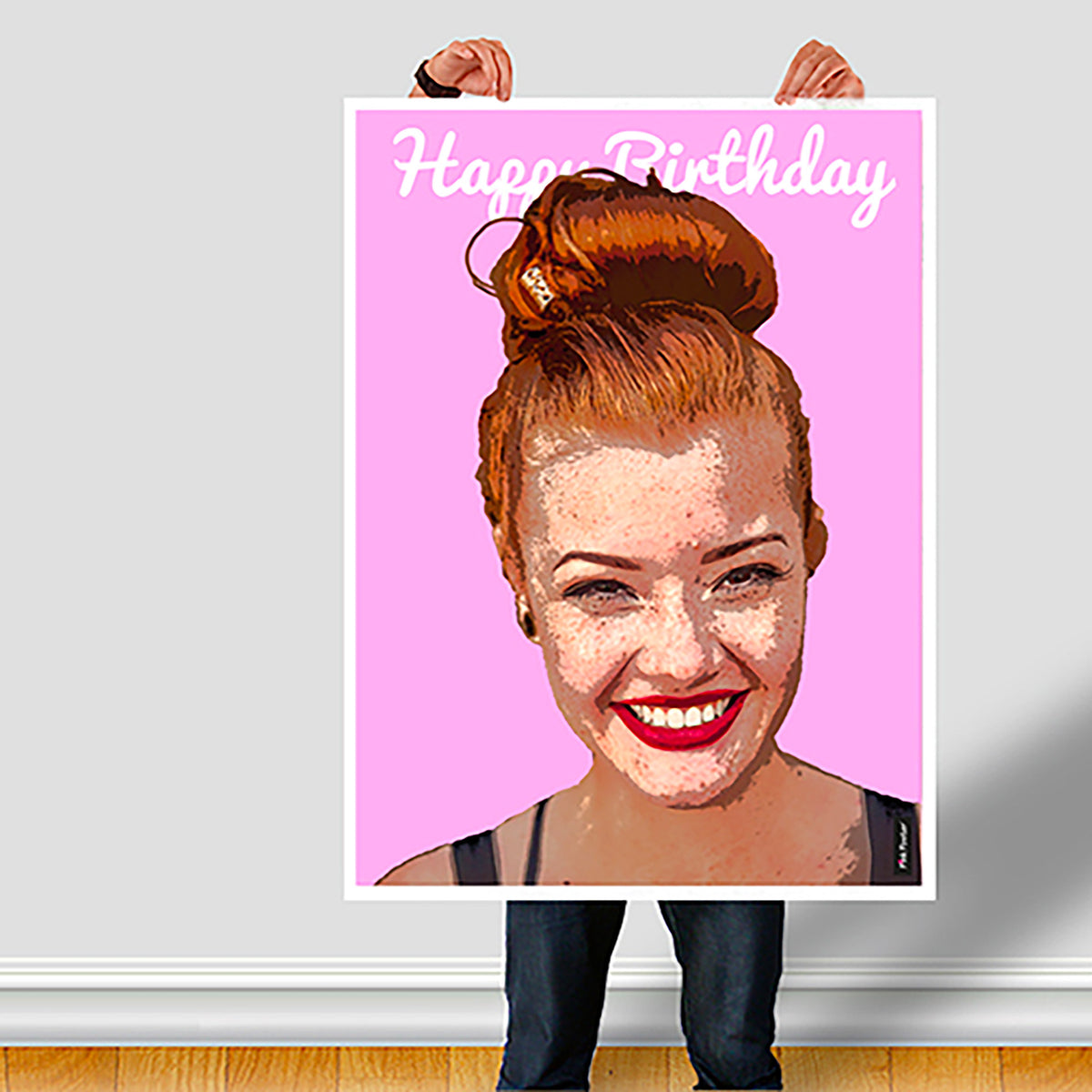 photo turned into custom Pop art poster of lady on a pink poster