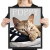 Custom cat pop art from photo in a black frame