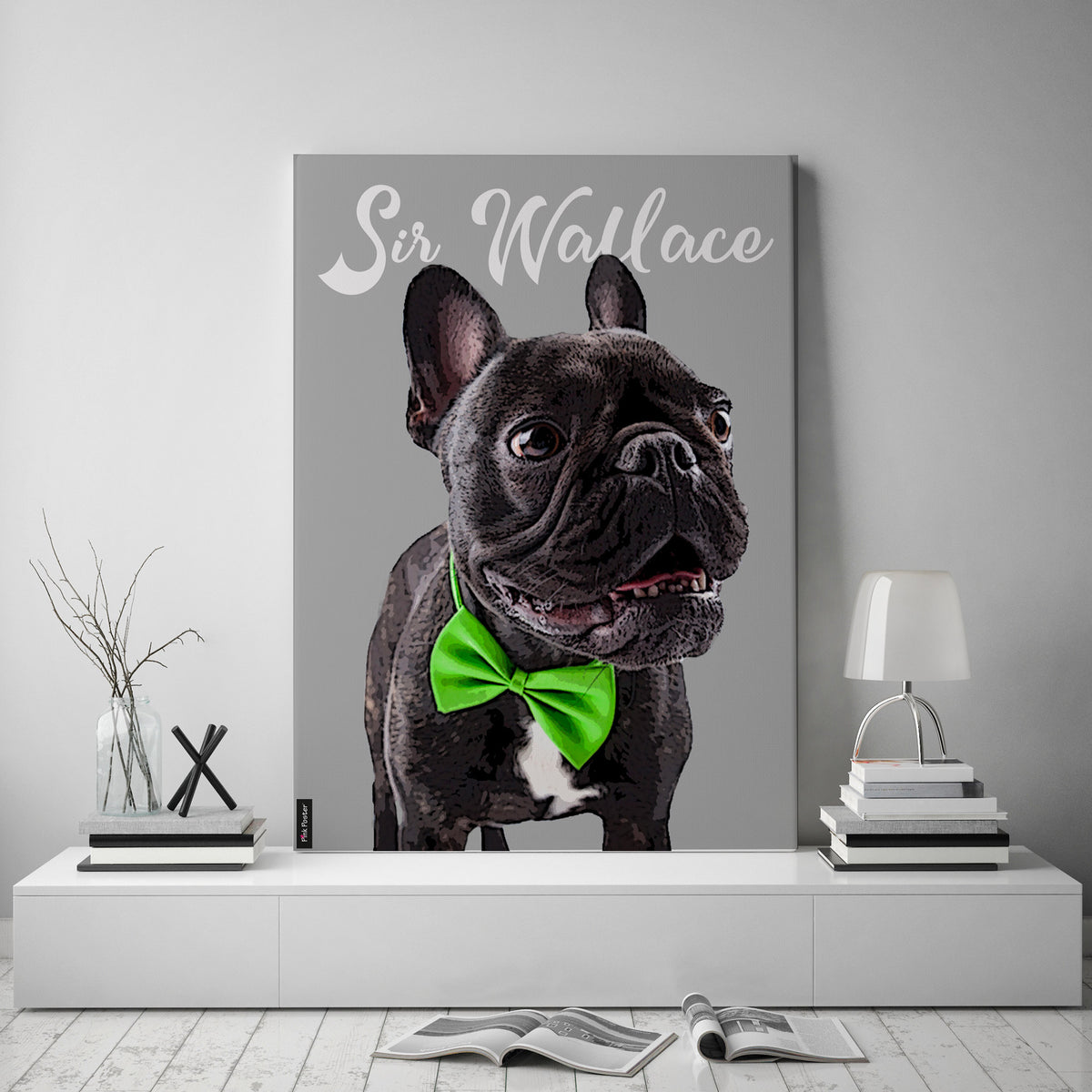 Dog poster - This is a dog art print of French bulldog on canvas