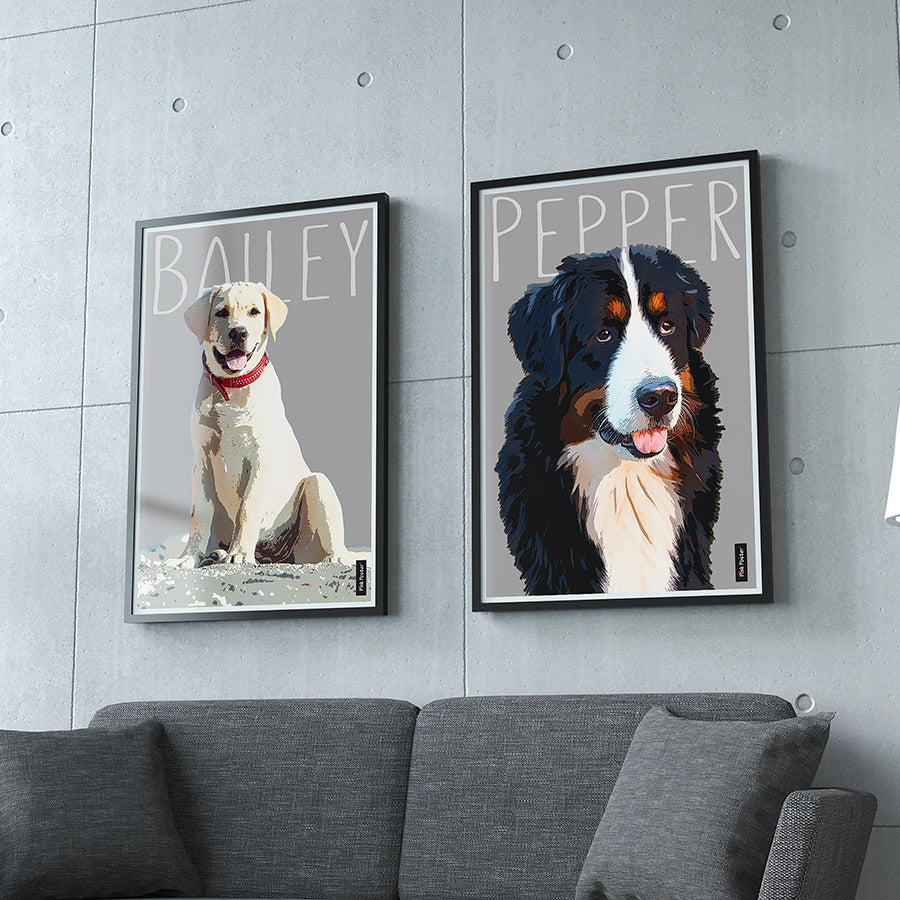pop art framed posters - Personalized dog art in black frame
