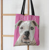 Custom bulldog dog art printed on a stylish Pink Poster  tote bag