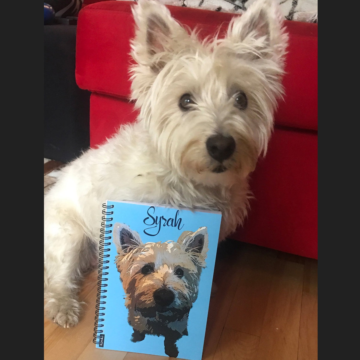 Custom spiral journal with pop art of Westie dog