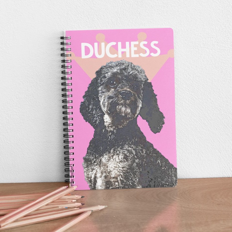 Pink Poster custom spiral bullet journal notebook with pop art of dog