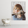 Large custom cat art poster of little girl with her kitten