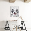 Custom pop art canvas - Pink Poster personalized dog art print in a home office