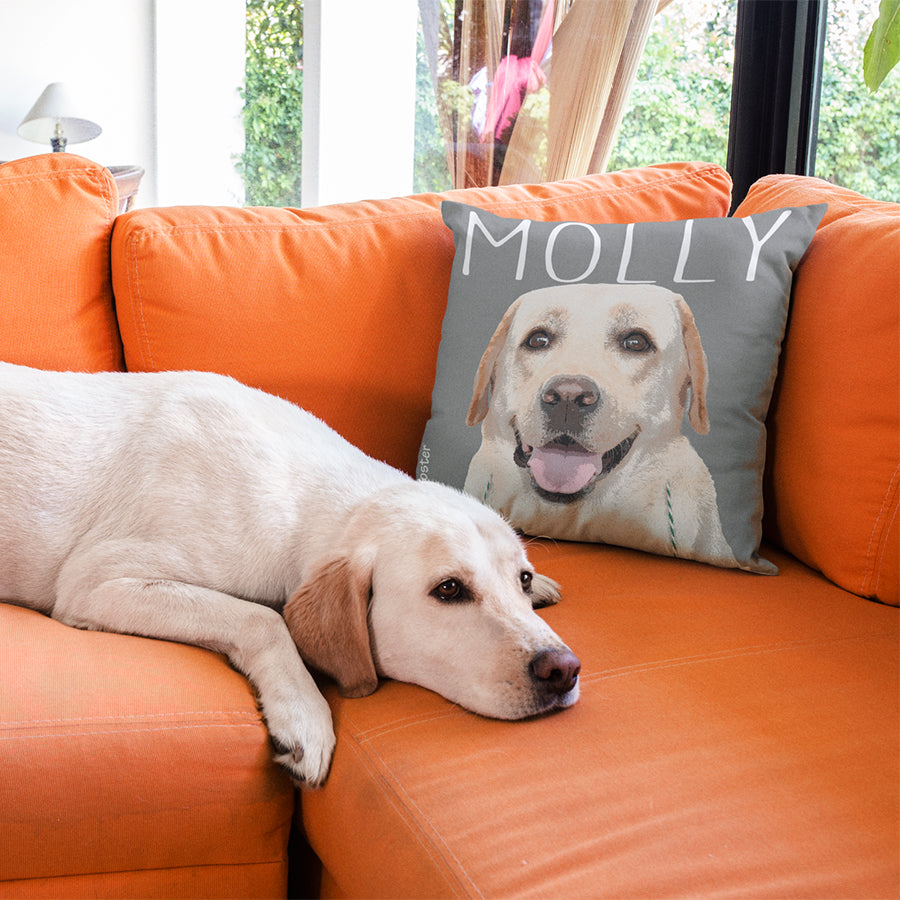 Custom dog art on a Pink Poster soft pillow