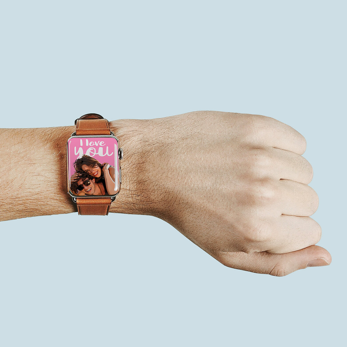 Pop art of happy couple on iWatch