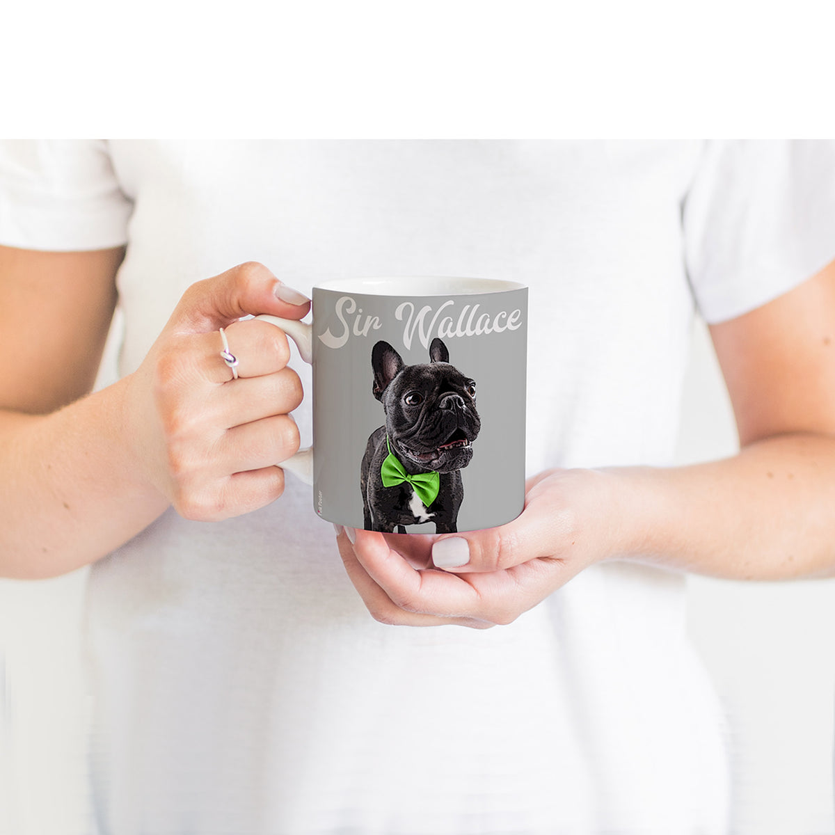 Custom dog art of Frenchie on a mug