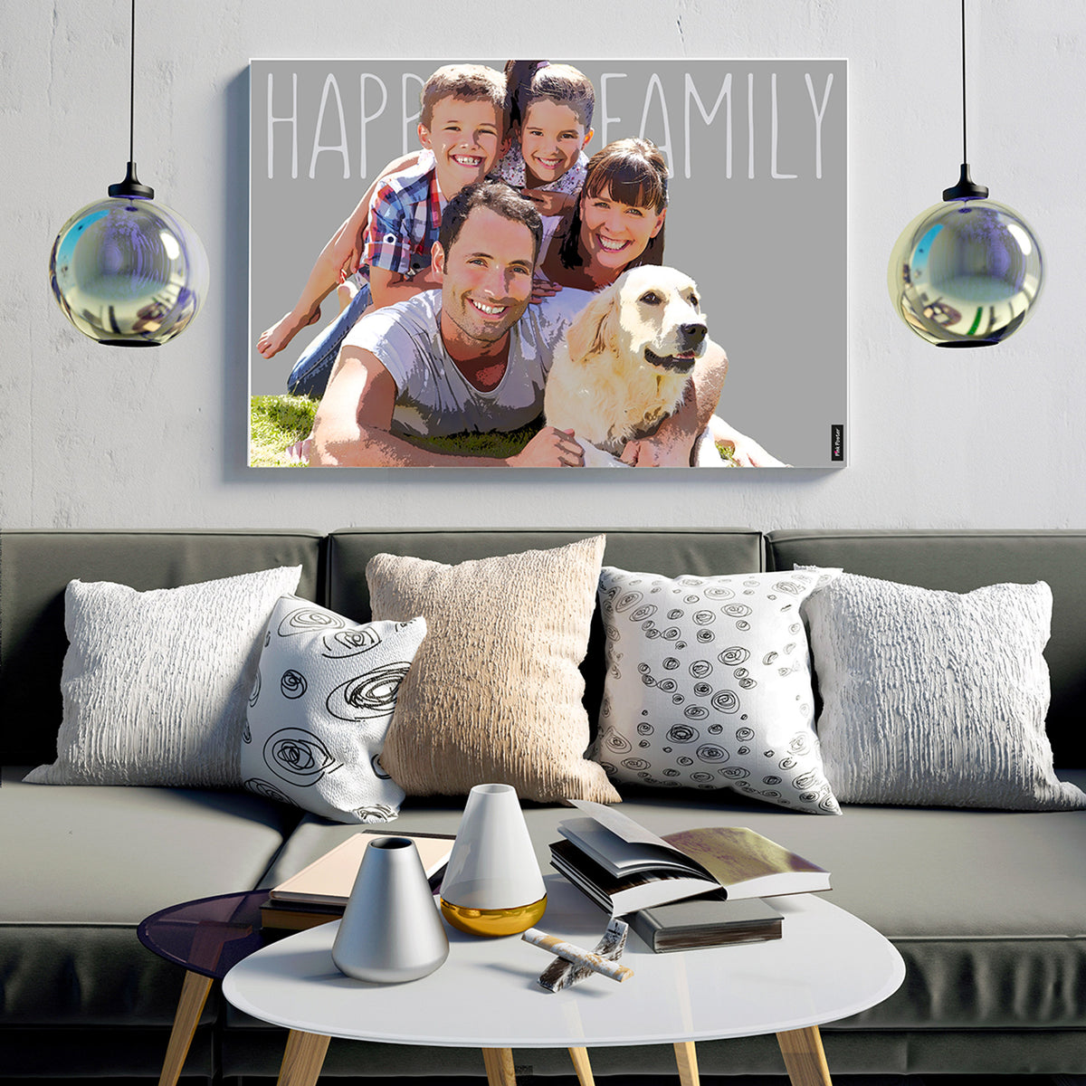 Pop art of happy family on canvas displayed in a nice living room