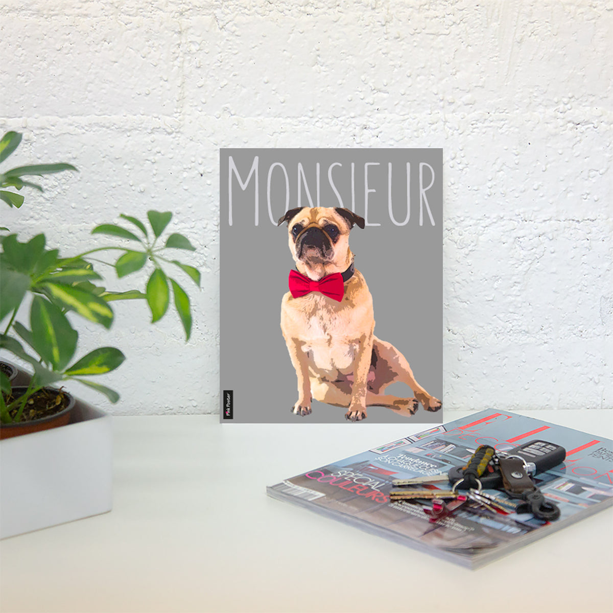 Dog art of Pug  printed on poster