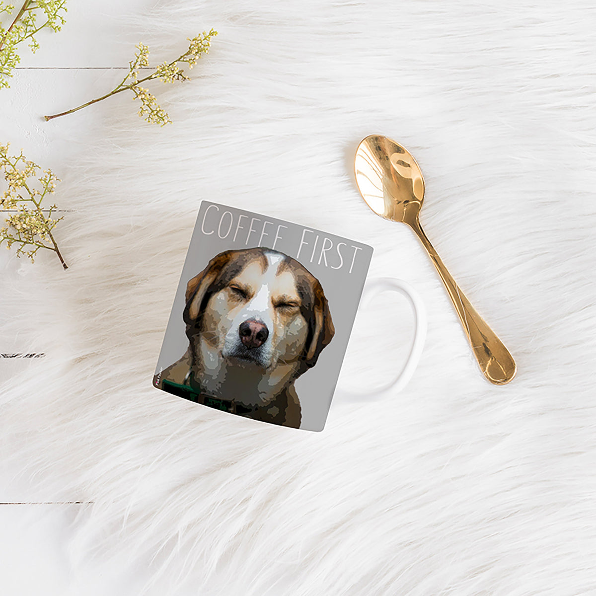 Pop art of a dog on a mug