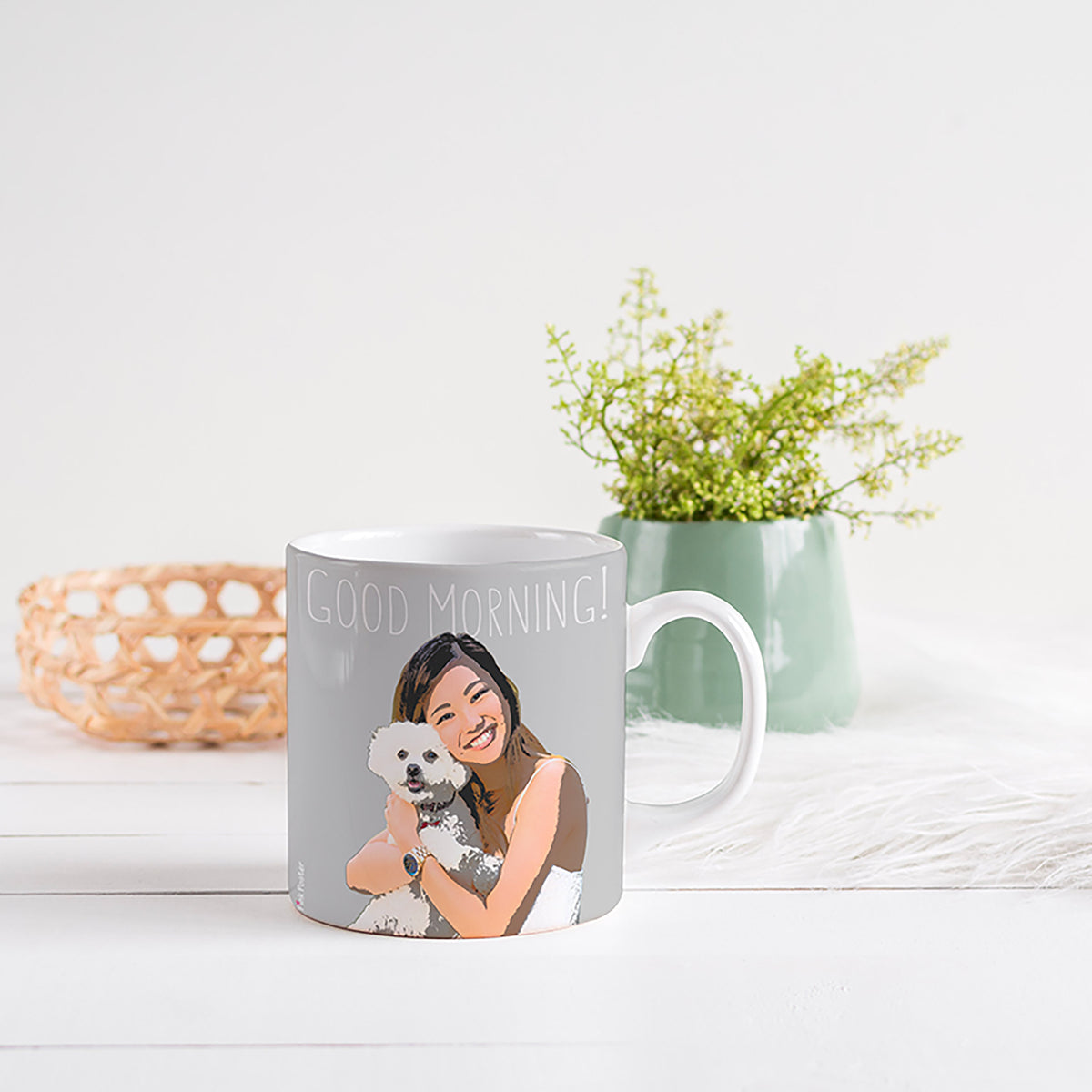 custom art of a lady with her dog on a tea cup