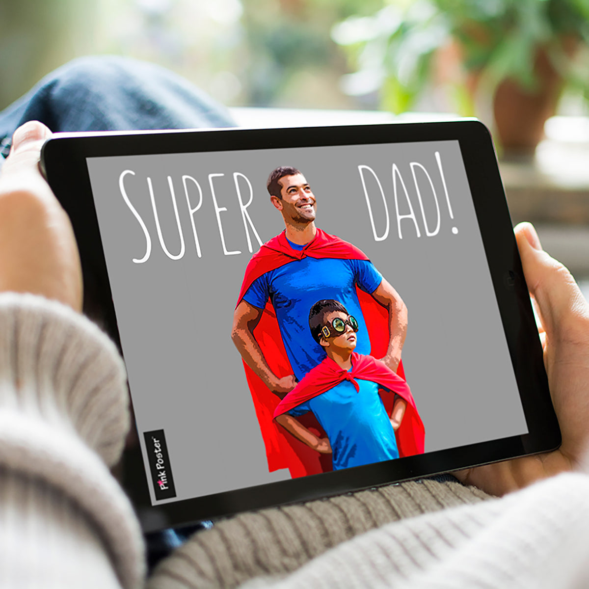 Digital pop art of super dad on iPad