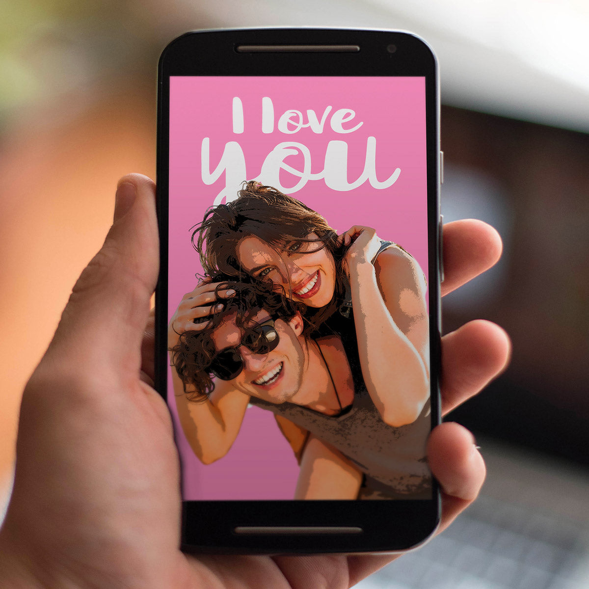 Personalized digital pop art of couple in love on iPhone