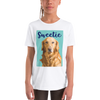 Little girl with her personalized shirt with a dog on it