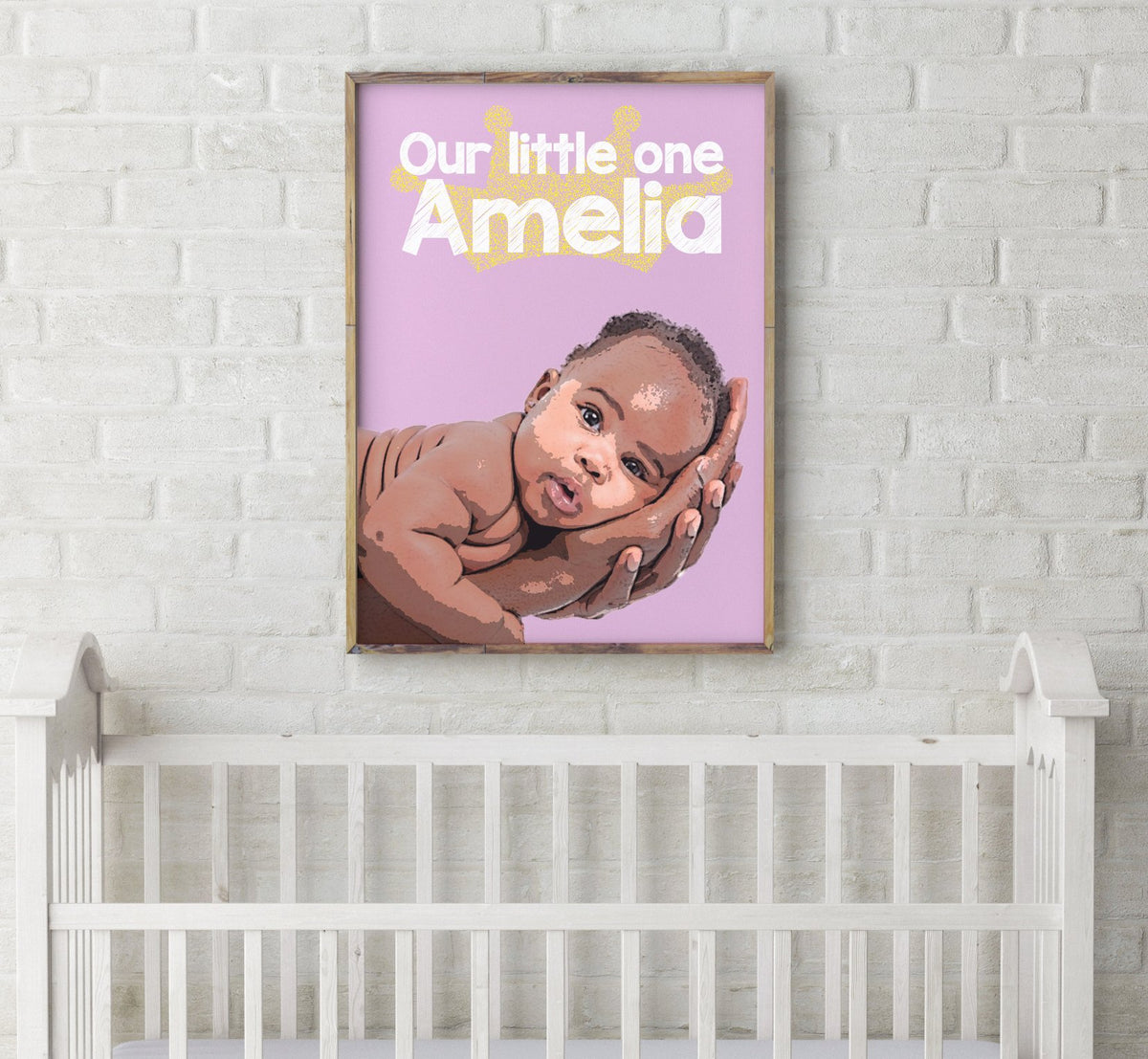 personalized kid art of Newborn baby displayed in a nursery