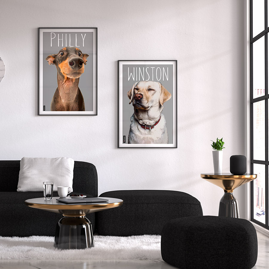 Pop art of dogs in a frame displayed in a modern living room