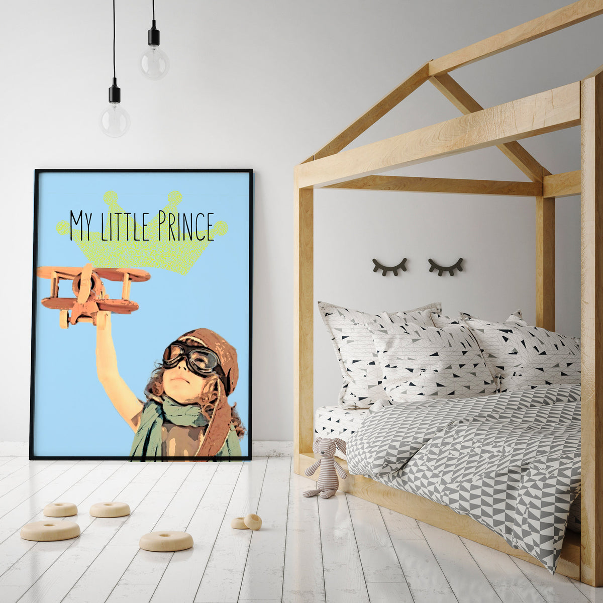 Pop art of kid in a Scandinavian style bedroom