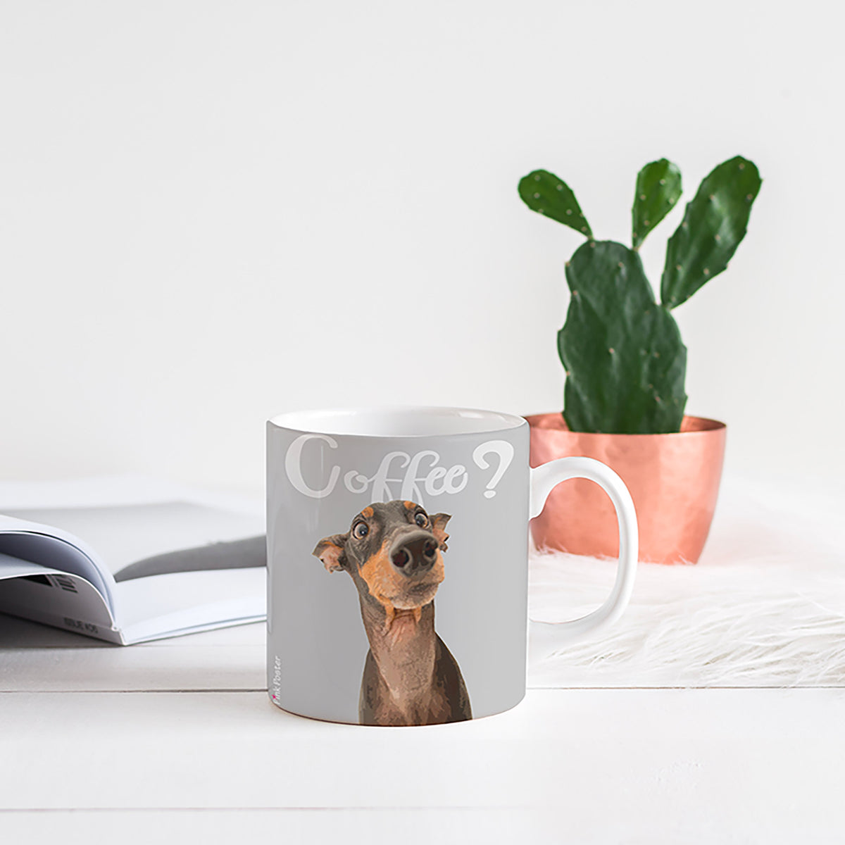 Pop art of mini doberman on a mug