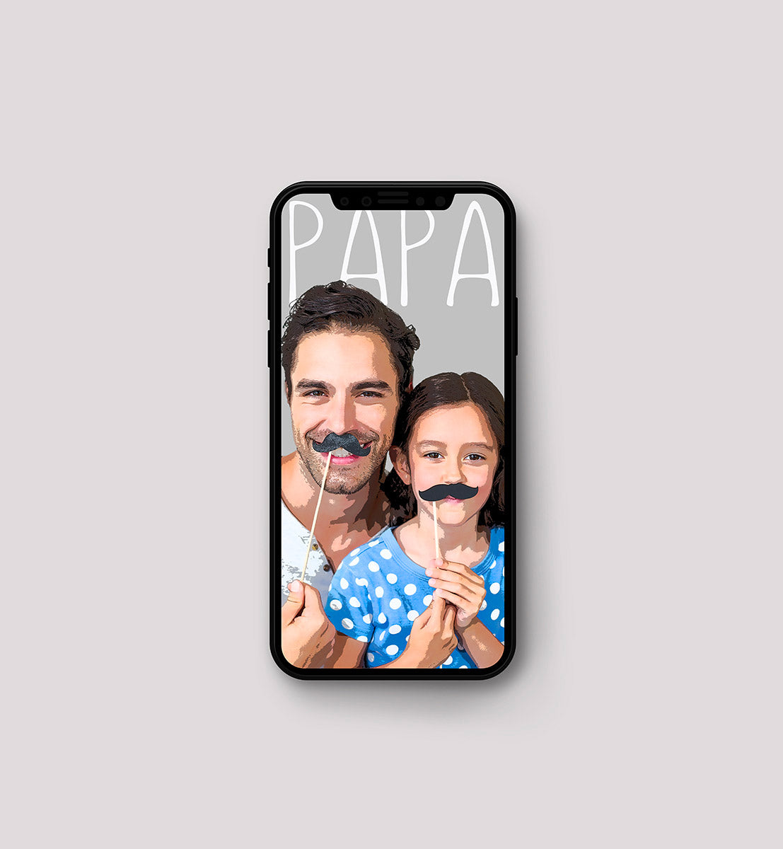 Pop art of dad and daughter on iPhoneX