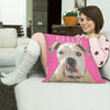happy lady with her Pink Poster adorable cushion with her boxer dog on it