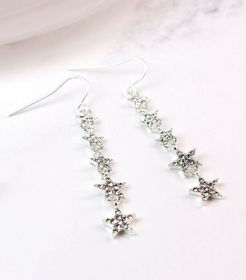 Multi Star Crystal Drop Earrings