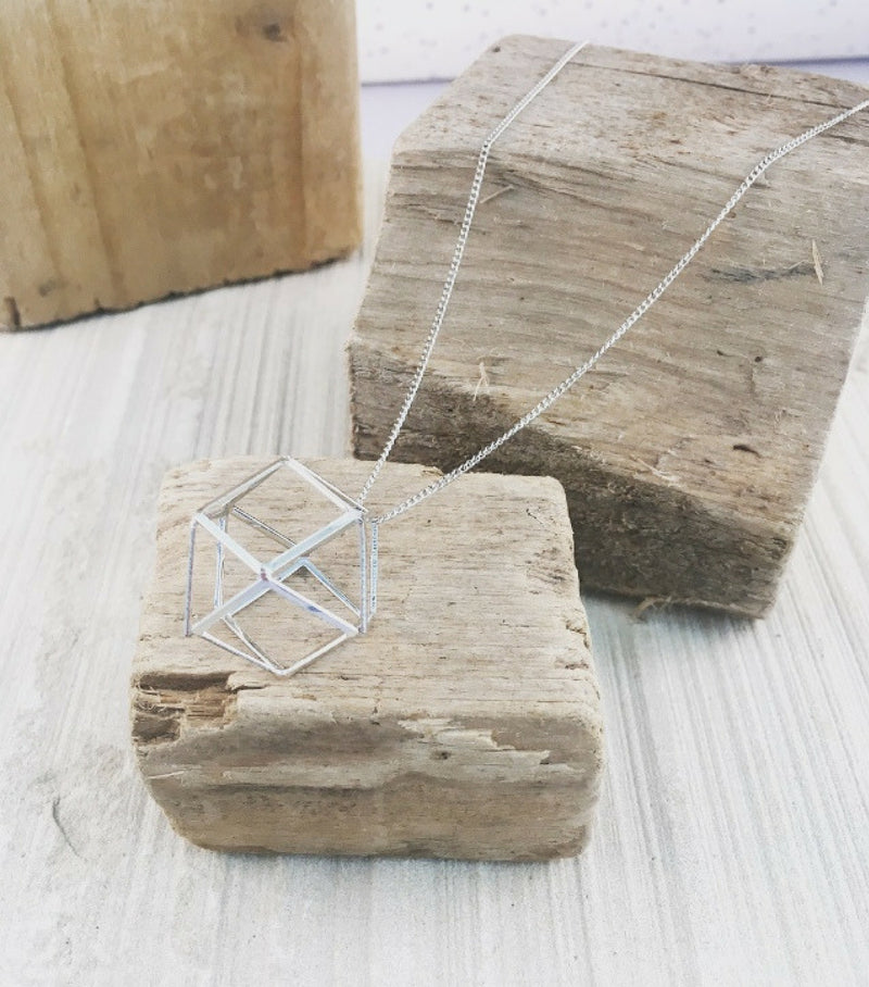 3D HEXAGON PENDANT - SILVER