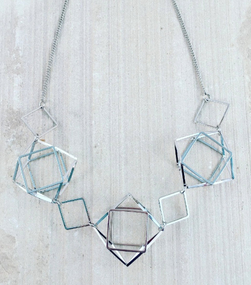 GEOMETRIC CAGED NECKLACE - SILVER