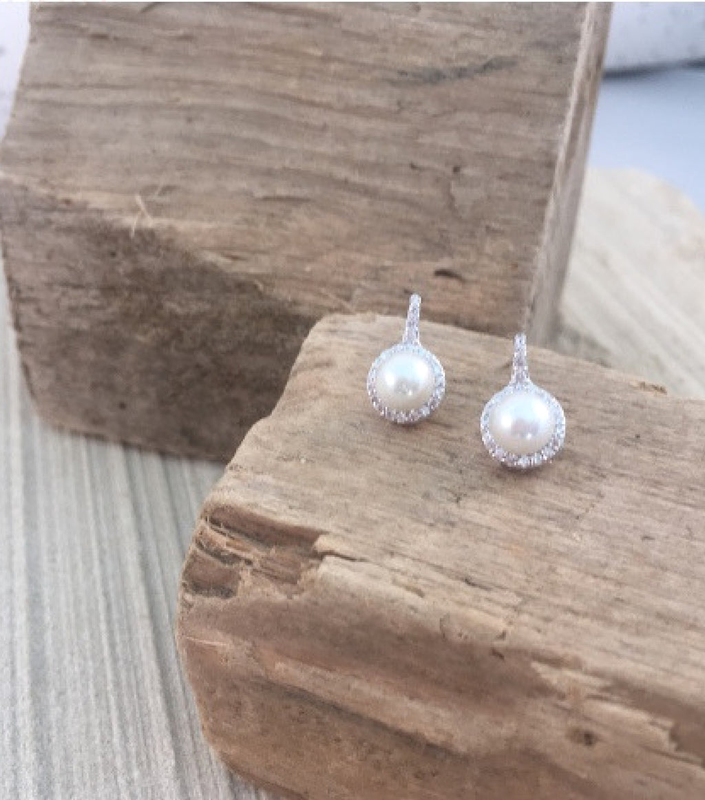 PEARL AND PAVE EARRINGS