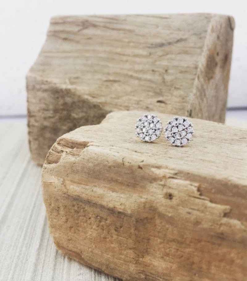 PAVE CRYSTAL STUDS - WHITE GOLD