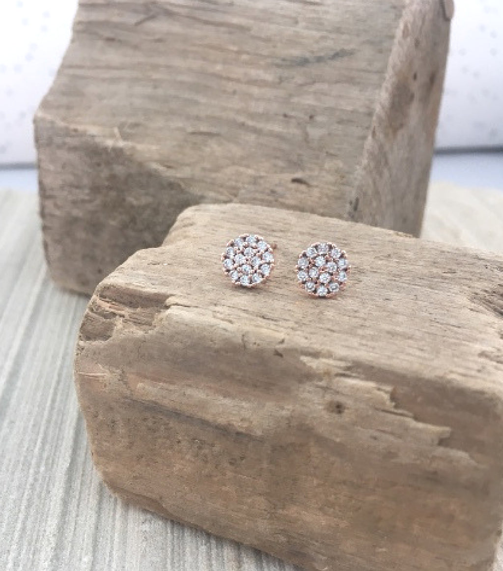 PAVE CRYSTAL STUDS - ROSE