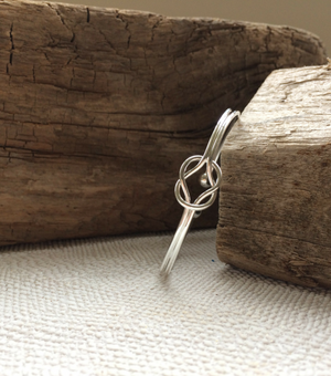 Dainty Silver Knot Bangle