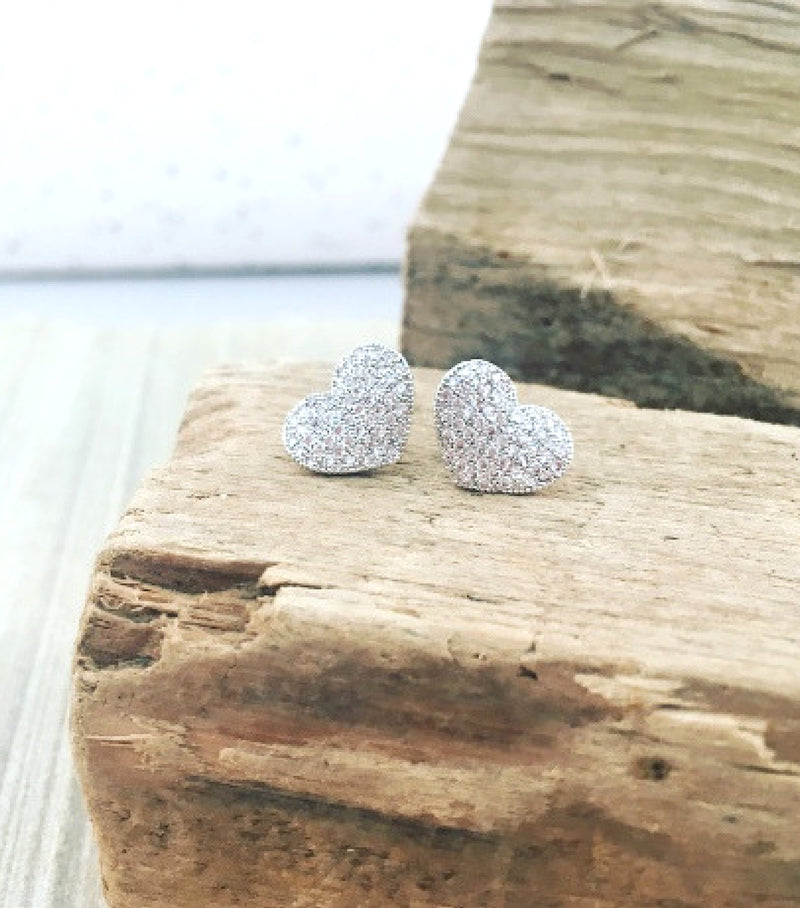 Pave Curved Heart Studs
