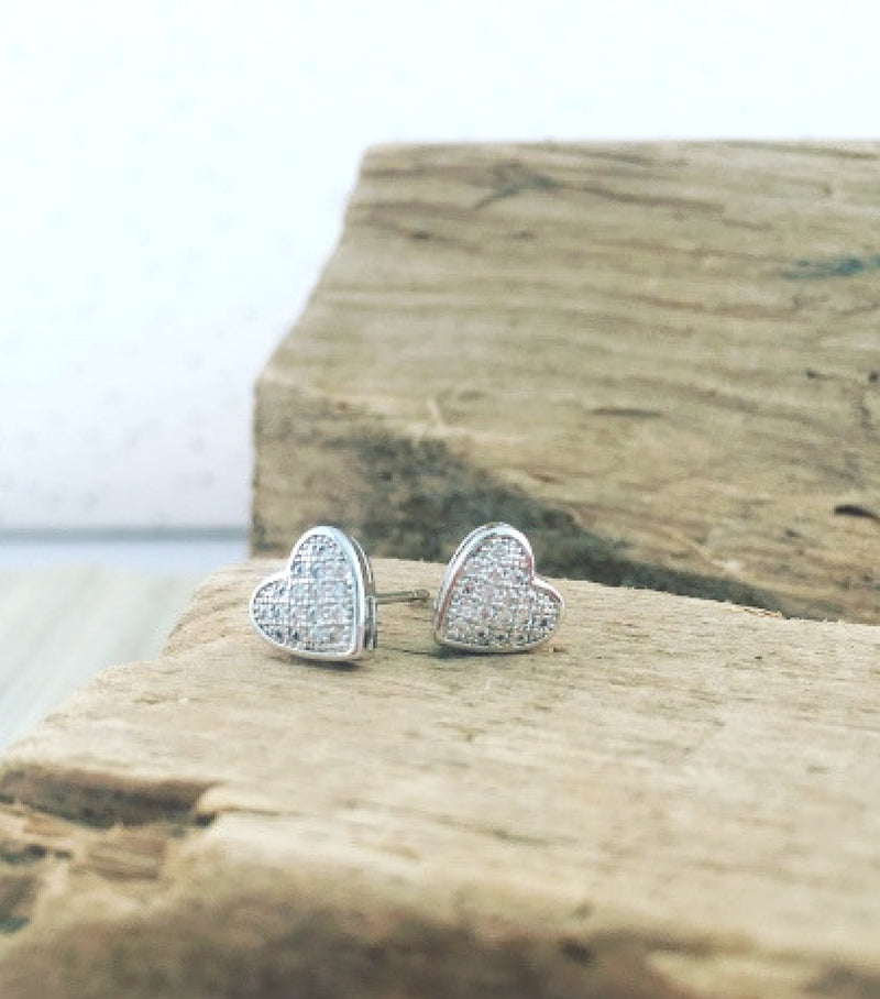 Pave Heart Studs - White Gold