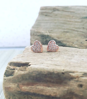 Pave Heart Studs - Rose Gold